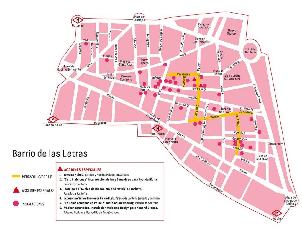 Plano del Barrio de las Letras. Mapa DecorAcción 2019